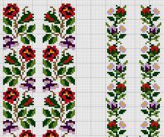 Cross Stitch Borders, Cross Stitch Flowers, Cross Stitch Designs, Cross Stitching, Cross Stitch Patterns, Folk Embroidery, Cross Stitch Embroidery, Embroidery Patterns, Loom Beading