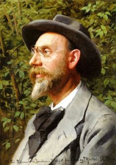 Monsted, Peder Mork (1859-1941) - 1918 Portrait of Professor Jacobsen (Private Collection)  / Peder Mork Monsted is a landscape painter renowned for the clarity of light common to the painters of that age, his naturalistic 'plain air' views made him the leading Danish landscape oil painter of his day.