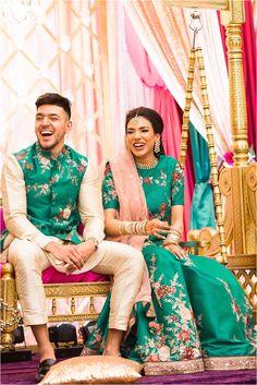 Murtaza + Maha's Mehndi Engagement Dress For Bride, Couple Wedding Dress, Indian Wedding Couple, Indian Engagement Outfit, Engagement Outfits, Wedding Kurta For Men, Wedding Dresses Men Indian, Indian Bridal Outfits, Wedding Dresses For Groom