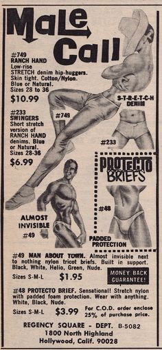 Vintage ad for gay clothing.