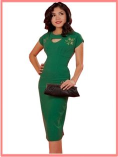 Smart green wiggle dress...old glam