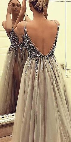luxury beading prom dresses for teens,sexy backless party gowns with splits, gr… Luxury beaded prom dresses for teenagers, sexy backless party dresses with columns, gray tulle senior prom dresses too Grey Party Dresses, Grey Prom Dress, Shrug For Dresses, Beaded Prom Dress, Party Gowns, Formal Dresses, Casual Dresses, Elegant Dresses, Sexy Dresses