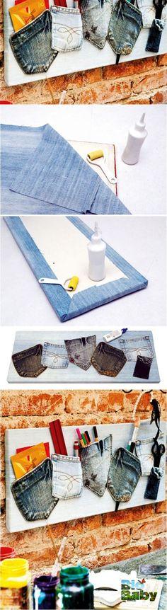 Forra una tabla de madera con mezclilla vieja y usa los bolsillos de pantalones…
