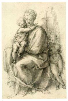 Michelangelo Buonarroti Madonna con el Niño y el Niño San Juan (recto)  c. 1532  tiza Negro, 317 x 210 mm  Colección Real, Windsor