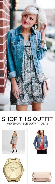 #spring #fashion  Denim Jacket & Printed Dress