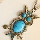 Bronzed Retro-Look Owl Sweater Necklace