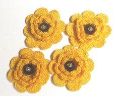 FLOWERS 4 cotton crochet yellow 3 layers appliques