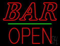 Bar Block Open Green Line Neon Sign 24 Tall x 31 Wide x 3 Deep, is 100% Handcrafted with Real Glass Tube Neon Sign. !!! Made in USA !!!  Colors on the sign are Red and Green. Bar Block Open Green Line Neon Sign is high impact, eye catching, real glass tube neon sign. This characteristic glow can attract customers like nothing else, virtually burning your identity into the minds of potential and future customers.