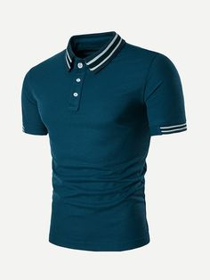 Men Cotton Short Sleeve Slim T Shirt Solid Tops Fashion Button Tops Clothes Polo on Luulla Polo Shirt Outfits, T Shirt Polo, Mens Polo T Shirts, Shirt Men, Mens Casual T Shirts, Men Casual, Mens Tops, Casual Tops, Camisa Polo