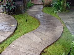These highly versatile, molded concrete plank pavers are the sustainable, cost-competitive, do-it-yourself alternative to poured concrete foot paths and patios. Front Yard Landscaping, Backyard Landscaping, Landscaping Ideas, Walkway Ideas, Patio Ideas, Backyard Ideas, Front Walkway, Walkway Designs, Natural Landscaping