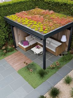 Green Roofs and Great Savings – Greenest Way - A natural rooftop has numerous positive factors at financial, habitat and political rank. Outdoor Pergola, Backyard Pergola, Backyard Landscaping, Rooftop Terrace Design, Terrace Garden, Rooftop Deck, Ideas Terraza, Sedum Roof, Modern Backyard