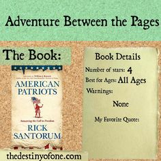 The Destiny of One: Book Review: American Patriots: Answering the Call to Freedom