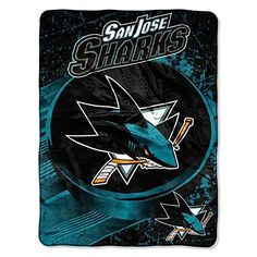 NHL San Jose Sharks Throw Blanket 46x60 Deep Pacific Teal Burnt Orange Black White Ice Dash Micro Sports Hockey Stacked Colored Polyester Soft Touch