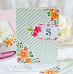 Monogrammed Card by Betsy Veldman for Papertrey Ink (April 2016)