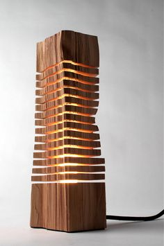 Minimalist Wood Sculpture by SplitGrain:  Fine Art Wood Sculpture on Illuminated Glass Core