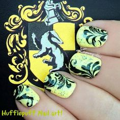 Hufflepuff by AboveTheCurve on Etsy with stamping nail art