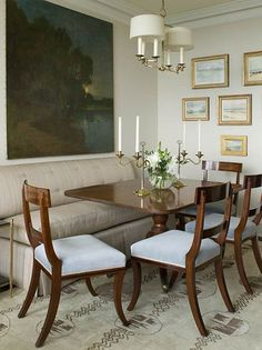 Dining Room concept - Like banquette seat, painting and calm quality. formal dining with banquette Dining Room Banquette, Dining Room Art, Banquette Seating, Dining Room Design, Dining Tables, Dining Set, Kitchen Dining, Interior Exterior, Interior Design