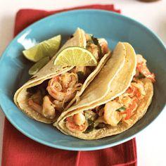 Garlicky Shrimp-Cilantro Tacos (Tacos de Camarones al Mojo de Ajo) | MyRecipes.com