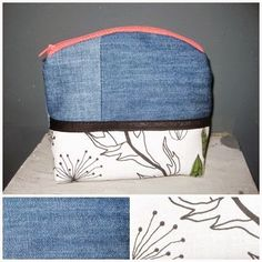 Täschchen z.T. aus Jeans / Zippered pouch partly made from old pair of jeans / Upcycling