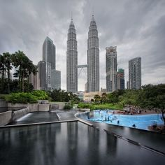 The Petronas Twin Towers on a cloudy day