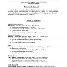 Personal Statement For Resume Amusing Susana Vega 305 7107351 Susanavegabellsouth Commercial And .