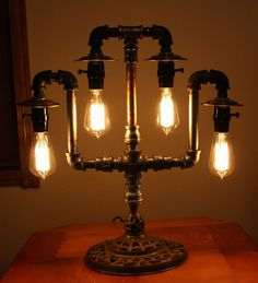 Industrial Steampunk Lamp Repurposed Brass Ornate Base Pipe Light Edison Bulbs