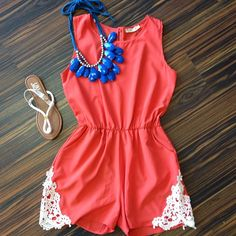 I just love coral & cobalt blue together! summer romper