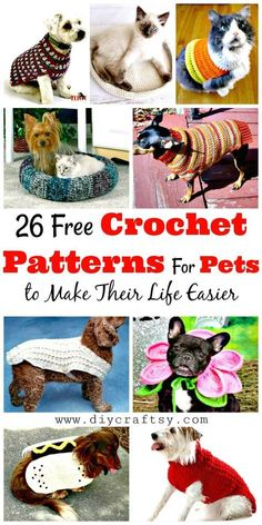 Best 12 Easy free crochet dog sweater pattern for all dog sizes. Chat Crochet, Crochet Gratis, Free Crochet, Crochet For Dogs, Crochet Dog Sweater Free Pattern, Crochet Dog Patterns, Crochet Ideas, Sweater Patterns, Crochet Dog Clothes