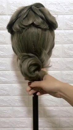 Bun Hairstyles For Long Hair, Braids For Long Hair, Braided Hairstyles, Front Hair Styles, Medium Hair Styles, Hair Style Vedio, Hair Upstyles, Long Hair Video, Hair Videos