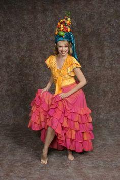 $20.00 Carmen Miranda yellow velvet leotard & shrug, pink ruffle skirt, fruit hat