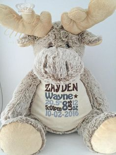 These moose personalized stuffed animals are perfect for your little one as a toy or a keepsake. Limited Edition. Each animal measures approximately 16. These stuffed animals each have a zippered bottom where stuffing can be removed and animal can easily be washed. Select your