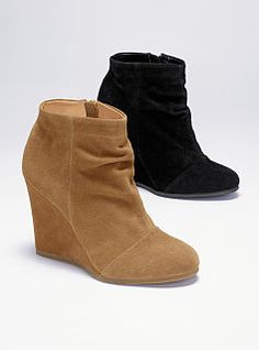 Ruched Wedge Bootie - ideal with the skinny cords :)