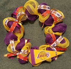 Check out this item in my Etsy shop https://www.etsy.com/listing/485893828/los-angeles-lakers-inspired-wreath-ready