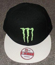 f1224d006b5 New era 9fifty monster energy athlete only black white visor snapback hat