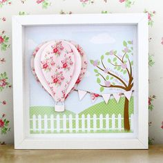 3d hot air balloon personalised picture, framed art, girl art, cath kidston, childrens wall art, new baby, birthday, naming day, christening