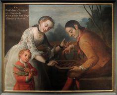 From coyote and morisca, an Albarazado is born, José Joaquín Magón, New Spain, 18th century, Gallery of Mexican Castes, Museum of Mexican History, Monterrey, Mexico.