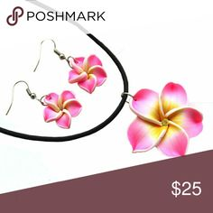 """Vibrant Clay Plumeria Earring & Necklace Set Brand new to the shop are these gorgeous vibrant clay plumeria earring and necklace sets! Each set comes with a matching pair of earrings and pendant hanging on a vegan leather string 15.75"""" long. You have the option of upgrading to a silver chain for an additional fee. Perfect for mom, your wife, sister or any lady who loves the beach and the aloha lifestyle! Jewelry Earrings"""