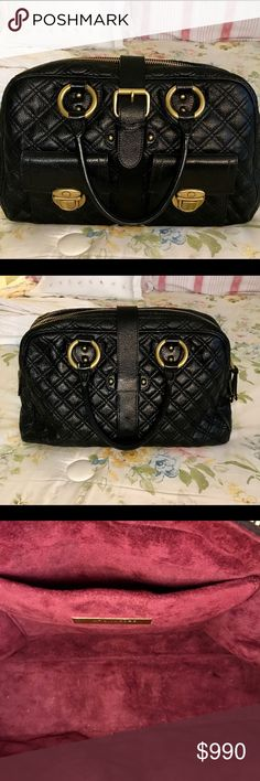 Authentic Marc Jacobs Venetia bag A gorgeous MJ bag in quilted black Nappa leather, brass tipped leather ties on top zipper, outside pockets have Marc's signature push-locks, dual rolled handles with ring accents, buckle closure at front strap and has soft suede burgundy lining. Marc Jacobs Bags Satchels