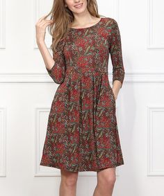 Look what I found on #zulily! Burgundy Floral Fit & Flare Dress #zulilyfinds