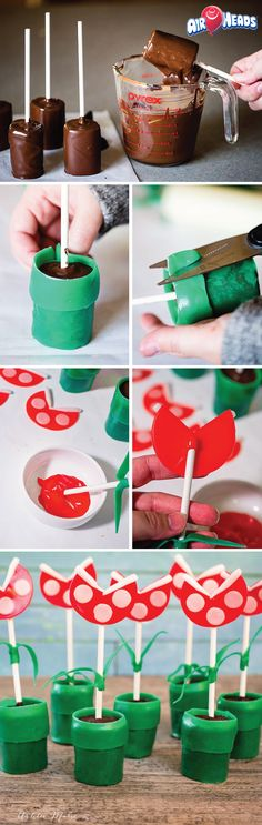 For your kid's next birthday party, make these Mario Piranha Plant Pops for a tasty dessert that your kids and their friends will love! Easily made with cupcakes, cookie balls, or cake pops, this chocolate covered treat is decorated with peanut-free candy that is perfect for sharing with kids of all ages!
