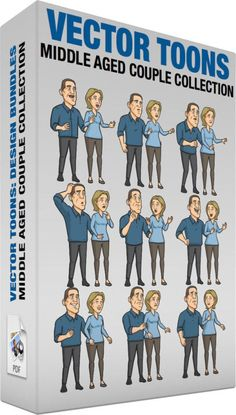 Middle Aged Couple Collection:   Bundle of images includes the following:  A Happy Middle Aged Couple A middle aged man with brown hair wearing a dark blue dress shirt gray pants shoes stands beside his wife with ash blonde hair wearing a light blue sweatshirt brownish gray leggings and shoes as they both look excited while smiling  A Surprised Middle Aged Couple A middle aged man with brown hair wearing a dark blue dress shirt gray pants shoes stands beside his wife with ash blonde hair…