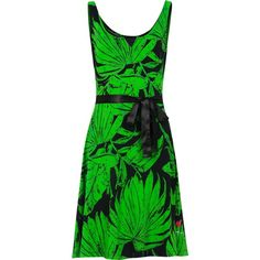 Desigual Noit Printed Dress (79 CAD) ❤ liked on Polyvore featuring dresses, green, sale, desigual dresses, collar dress, knee length shift dress, print shift dress and green cotton dress