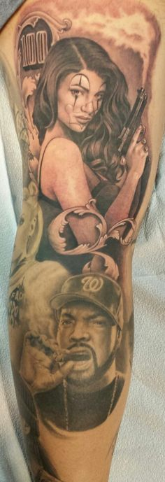 gangster girl tattoo payasa clown pistol ice cube portrait westside westcoast tattoo collector leg sleeve tatted up inked life