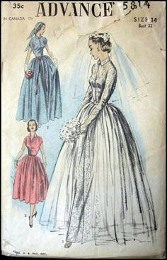 Vintage Sewing Pattern Advance 5814 Misses Wedding Dress DIY Bridal Wedding Dress Patterns, Vintage Dress Patterns, Vintage Dresses, Vintage Outfits, Vintage Fashion, Wedding Dresses, 50s Wedding, Modest Wedding, Glamorous Wedding