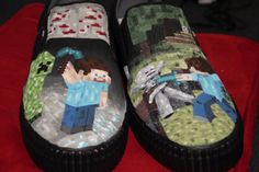 Custom+Painted+Shoes+Minecraft+by+MissSoupsShop+on+Etsy,+$120.00
