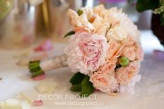 Hotel Savoy, Moscow. Classic wedding in gold and peony color. Sweet and romantic decor element. Bride bouquet, peony and roses
