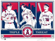 Trout, Pujols, and Hamilton Sports Propaganda Handmade LE Serigraph - Los Angeles Angels Angels Baseball, Pro Baseball, Trout Farm, Albert Pujols, Propaganda Art, Mike Trout, Big Boys, Captain America, Hamilton
