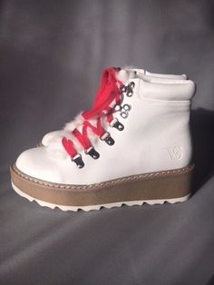 Women's White Ankle Boots With Fur + Red and White Laces UK Size 3-8 Made in EU  | eBay Womens White Ankle Boots, White Lace, Red And White, Fur Boots, Hiking Boots, Flats, Fashion, Self, Loafers & Slip Ons