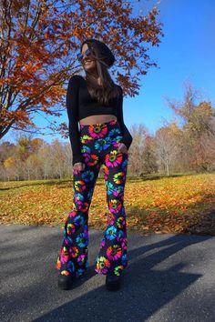 uv rainbow burst bells – illumilani vintage Rainbow Outfit, Neon Rainbow, Rainbow Fashion, Sea Punk, Space Princess, Bold Prints, Bra Tops, Bell Bottoms, Sewing Ideas