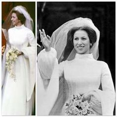 Anne, Princess Royal of the United Kingdom  Dress by: Maureen Baker  Married: 14 November 1973, at Westminster Abbey